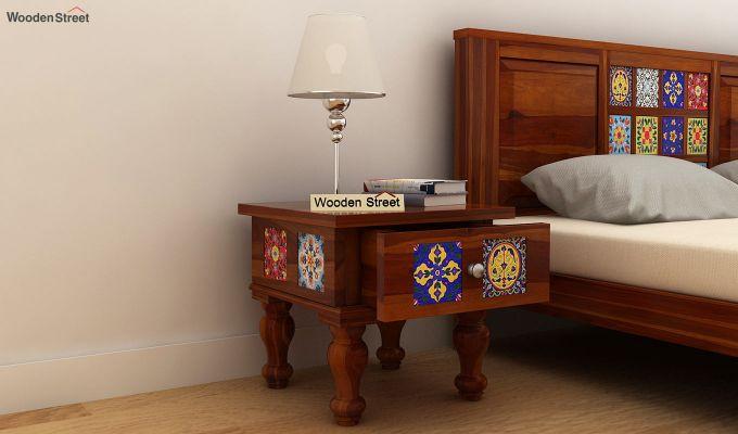 Boho Bedside Table (Honey Finish)-1