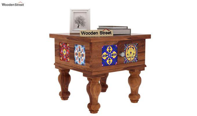 Boho Bedside Table (Teak Finish)-1