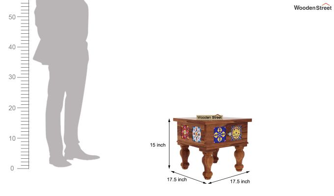 Boho Bedside Table (Teak Finish)-4