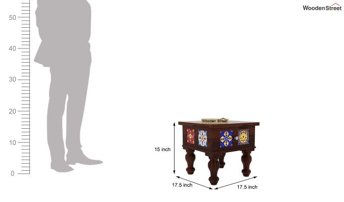 Boho Bedside Table (Walnut Finish)-4