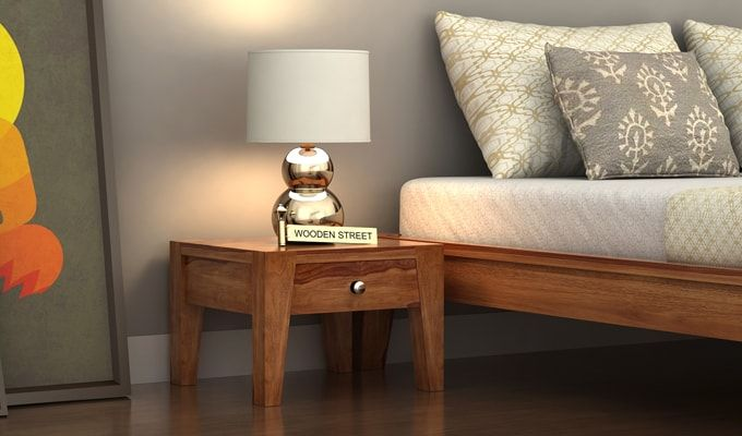 Bois Bedside Table (Teak Finish)-1