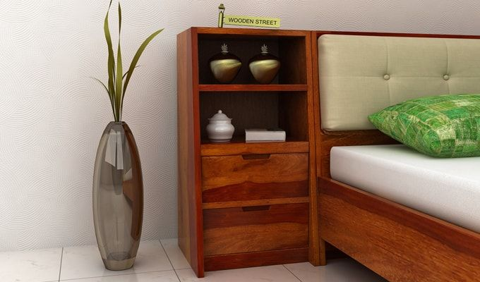 Bolivia Bedside Table (Honey Finish)-1