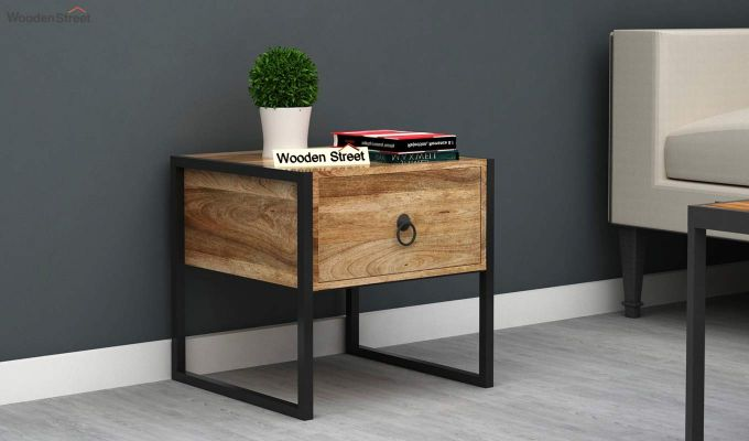 Bron Loft Bedside Table (Natural Finish)-1