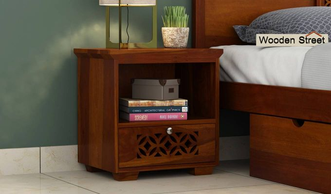 Cambrey Bedside Table (Honey Finish)-1