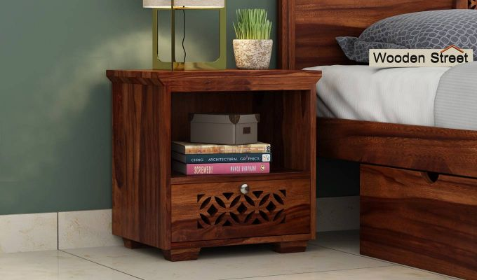 Cambrey Bedside Table (Teak Finish)-1