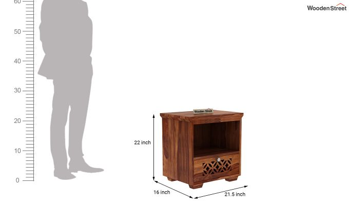 Cambrey Bedside Table (Teak Finish)-3