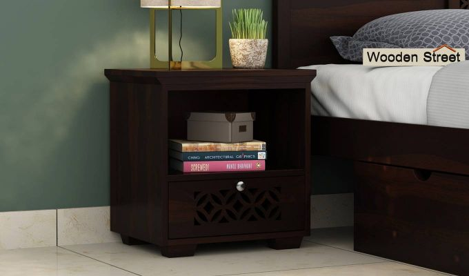 Cambrey Bedside Table (Walnut Finish)-1