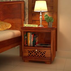 Cambrey Bedside Table (Honey Finish)