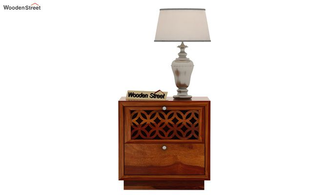 Cambrey Designed Bedside Table (Honey Finish)-3