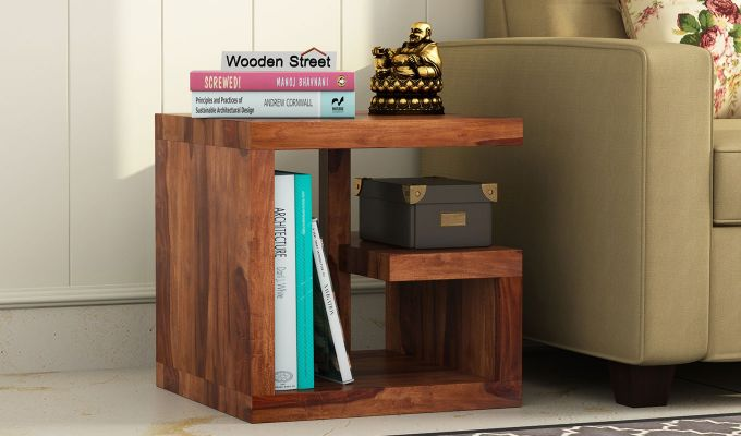 Carden Bedside Table (Teak Finish)-1