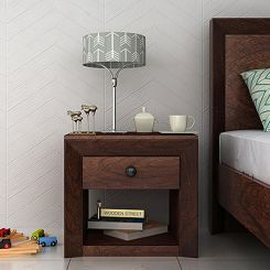Carvel Bedside Table (Walnut Finish)
