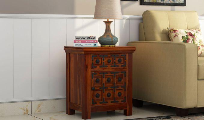 Citadel Bedside Table (Honey Finish)-1