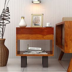 Curtiz Bedside Table (Honey Finish)