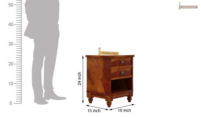 Dela Bedside Table (Honey Finish)-5