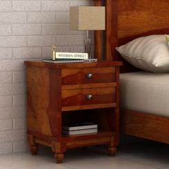 Dela Bedside Table (Honey Finish)
