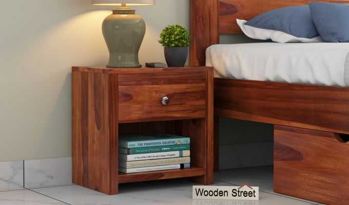 Denzel Bedside Table (Honey Finish)-1