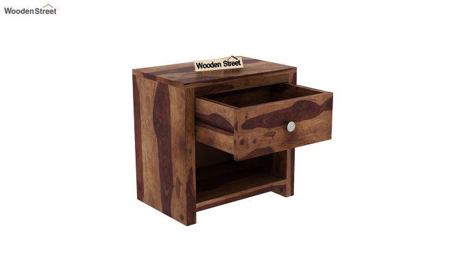Denzel Bedside Table (Teak Finish)-4