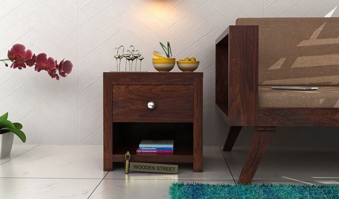 Denzel Bedside Table (Walnut Finish)-1