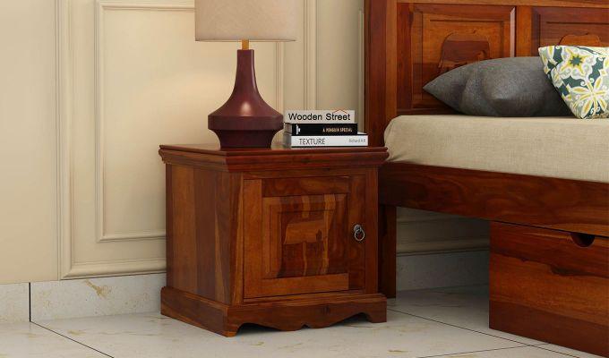 Emboss Bedside Table (Honey Finish)-1