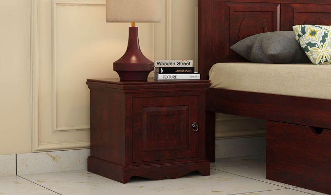 Emboss Bedside Table (Mahogany Finish)-1