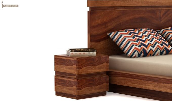 Florian Bedside Table (Teak Finish)-1