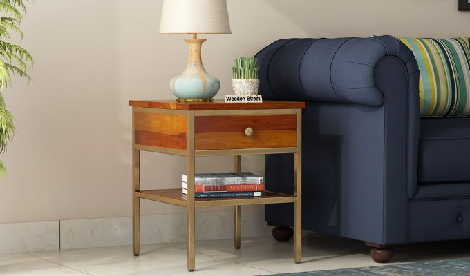 Grapho Bedside Table (Honey Finish)-1