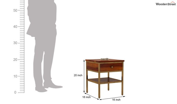 Grapho Bedside Table (Honey Finish)-6