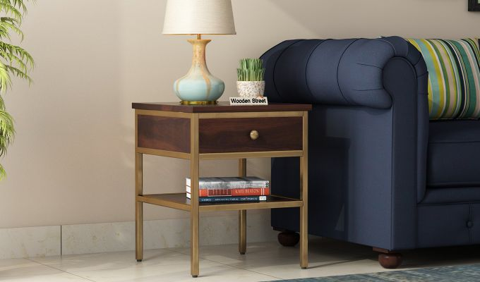 Grapho Bedside Table (Walnut Finish)-1