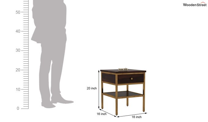 Grapho Bedside Table (Walnut Finish)-6