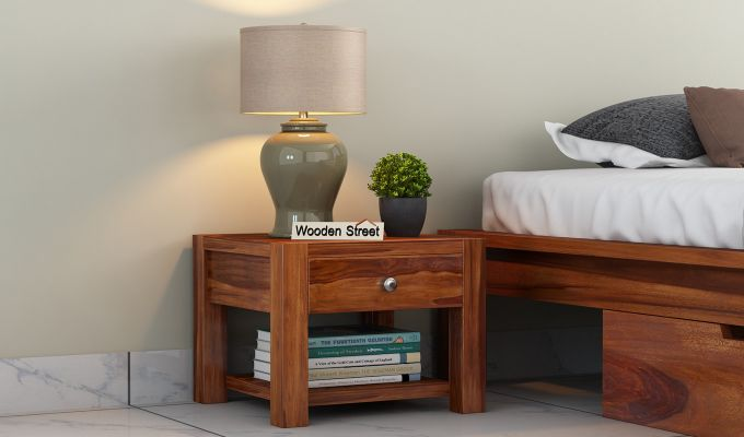 Hout Bedside Table (Honey Finish)-1