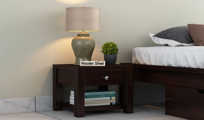 Hout Bedside Table (Walnut Finish)-1