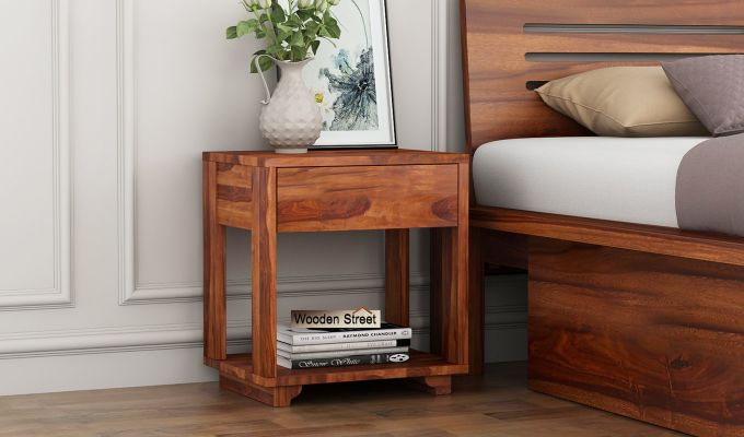 Kristin Bedside Table (Honey Finish)-1