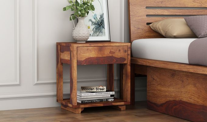 Kristin Bedside Table (Teak Finish)-1