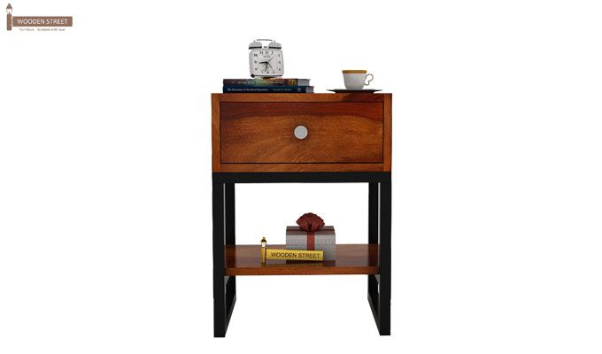 Lomror Bedside Table (Honey Finish)-3