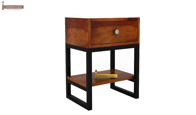 Lomror Bedside Table (Honey Finish)-6