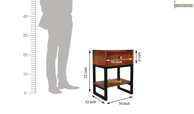 Lomror Bedside Table (Honey Finish)-9