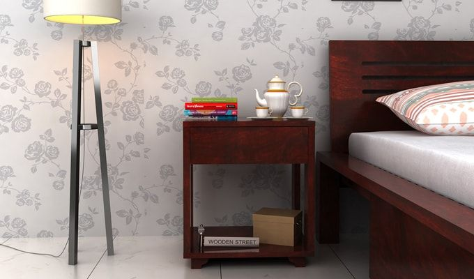 Lynet Bedside Table (Mahogany Finish)-1