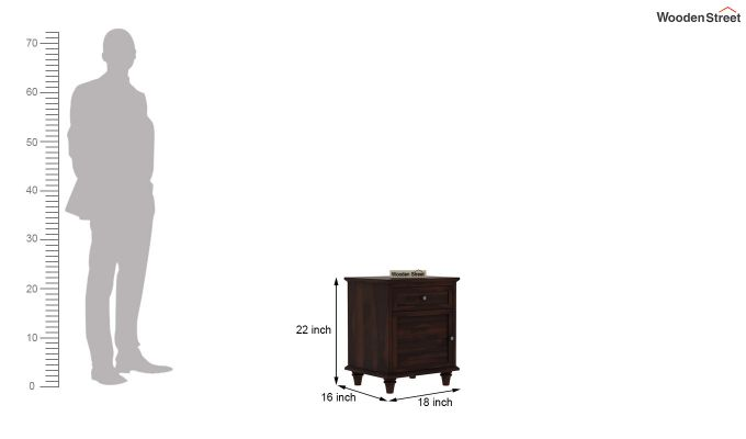 Nordic Bedside Table  (Walnut Finish)-7
