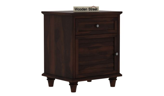 Nordic Bedside Table  (Walnut Finish)-6
