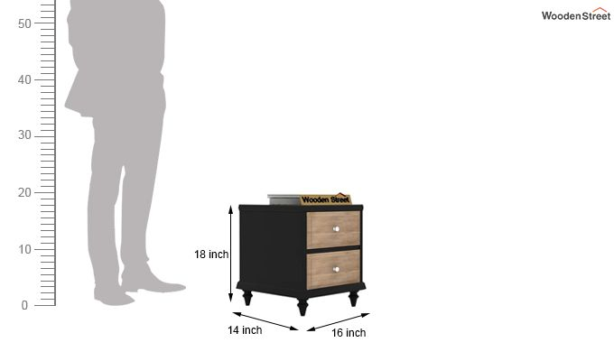 Oriental Bedside Table (Black Finish)-5