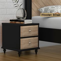Oriental Bedside Table (Black Finish)