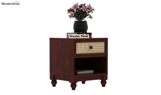 Palm Bedside Table (Mahogany Finish)-1