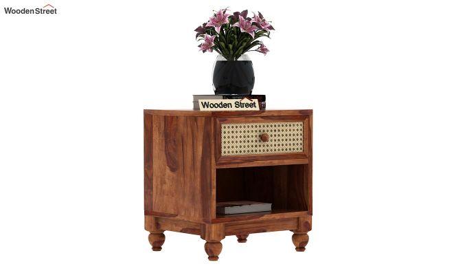 Palm Bedside Table (Teak Finish)-1