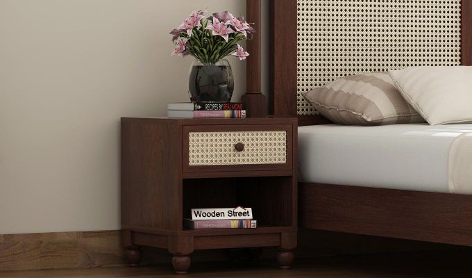 Palm Bedside Table (Walnut Finish)-1