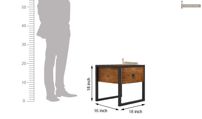 Samboy Loft Bedside table (Teak Finish)-5