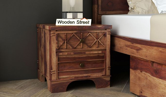 Swirl Bedside Table (Teak Finish)-1