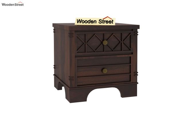 Swirl Bedside Table (Walnut Finish)-2