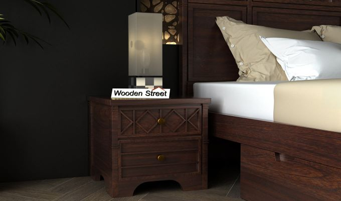 Swirl Bedside Table (Walnut Finish)-1