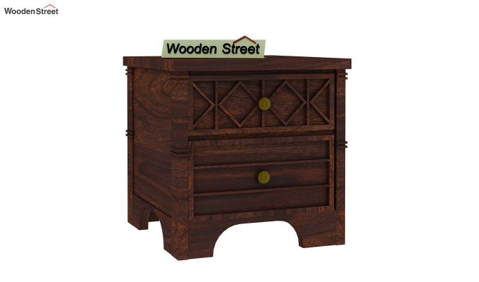 Swirl Bedside Table (Walnut Finish)-4