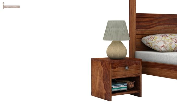 Tesla Bedside Table (Teak Finish)-3